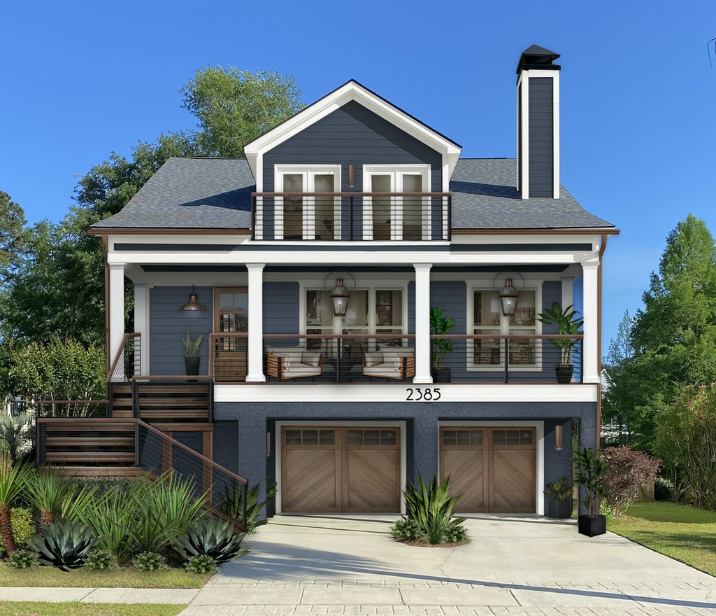A coastal modern home exterior design featuring siding painted in Hale Navy, wide trim, wood accents, and copper gutters.