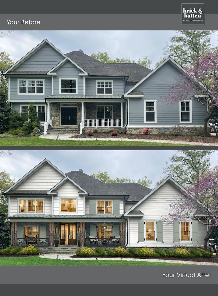 Before and after of a tradition home's exterior design. The after home is painted in Simply White and has pale green shutters added, as well as an extended front porch.