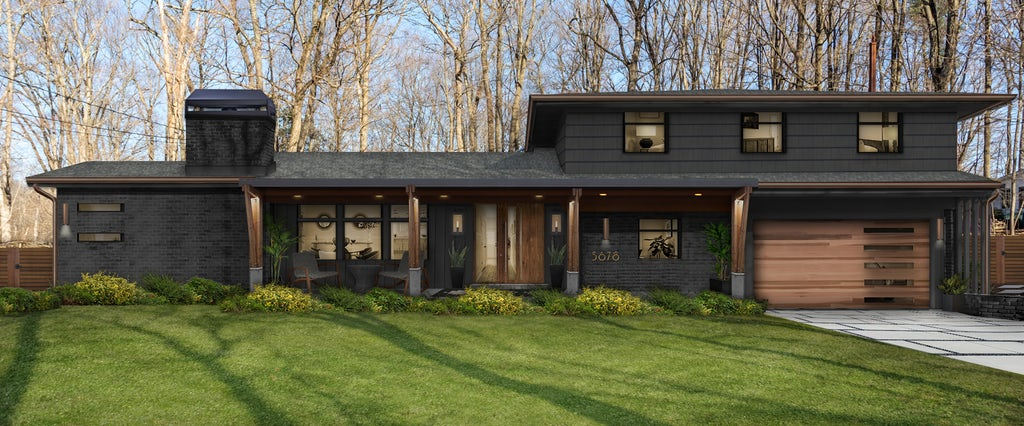 modern two story home with dark gray and black accents