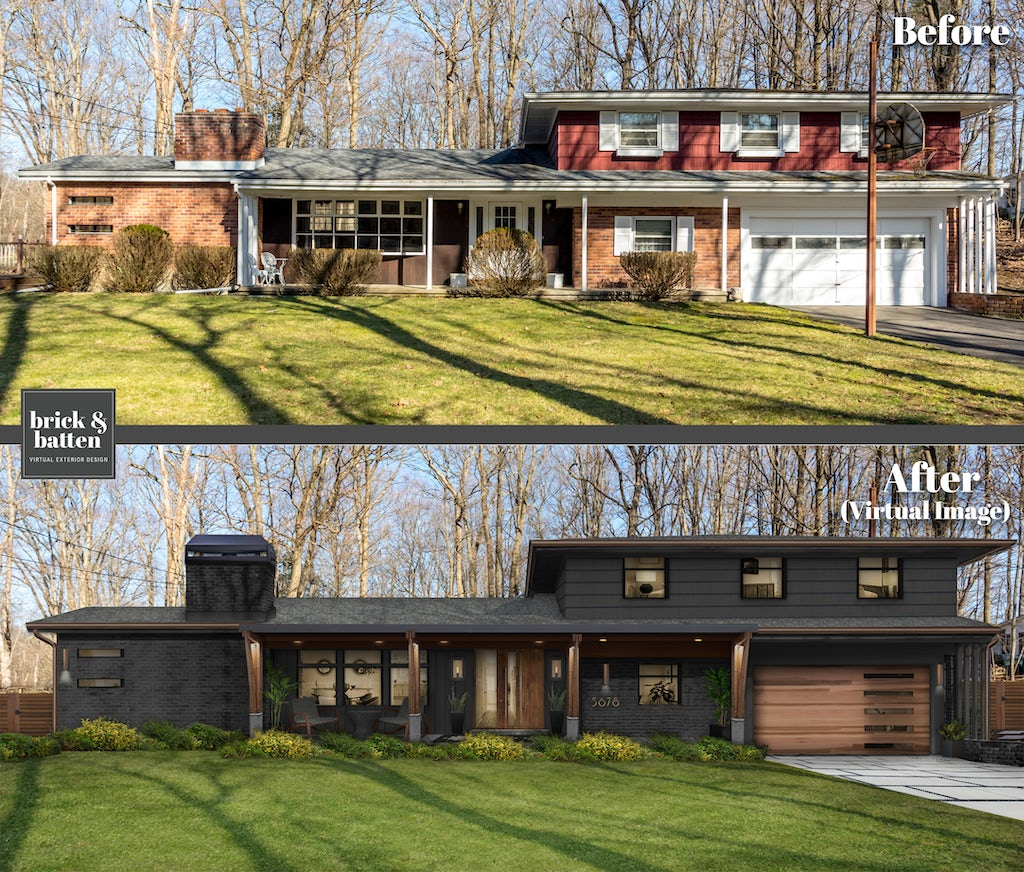 Before and after of a two-story mid-century style home. The before photo features natural brick and red siding. The after is in a dark gray color palette.