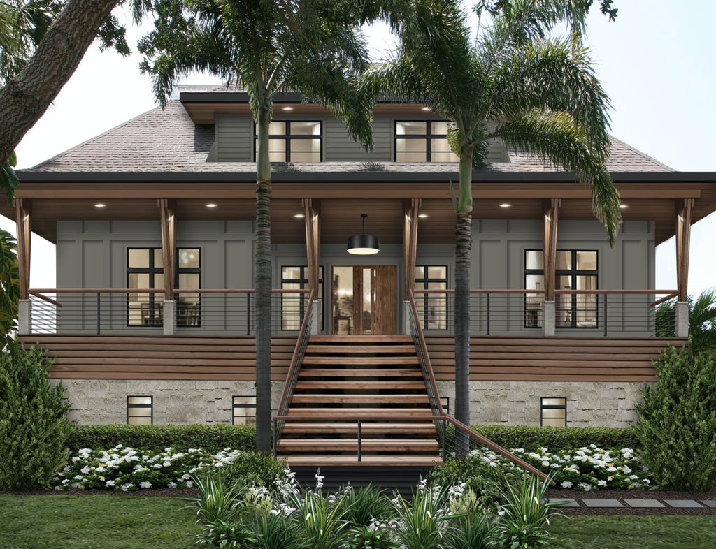 The exterior design of a coastal bungalow with a large porch featuring James Hardie siding in Aged Pewter, wood accents, and stone.