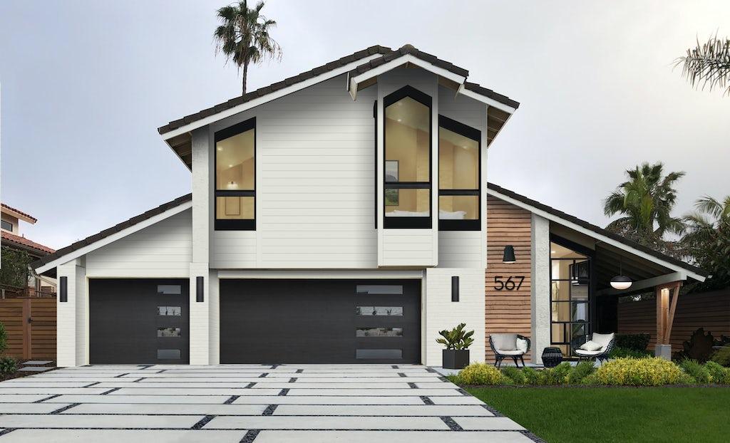 modern angular beach home in olympic white