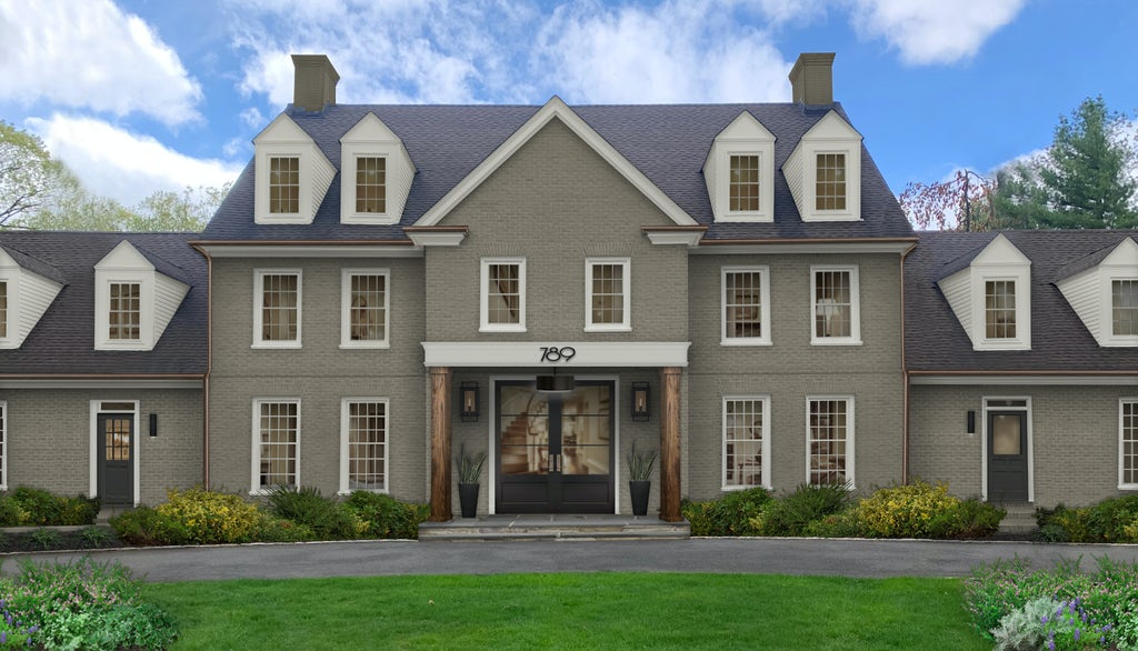 Traditional two-story brick home painted in Sherwin Williams' Anonymous with accents in Ballet White.