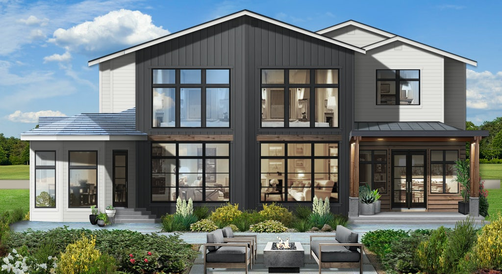 modern contemporary home painted in graphite with large windows