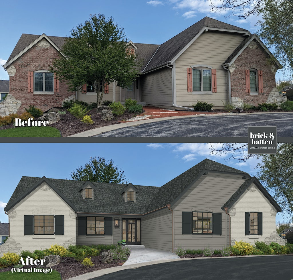 transitional ranch with light gray brick, gray siding, and black shutters