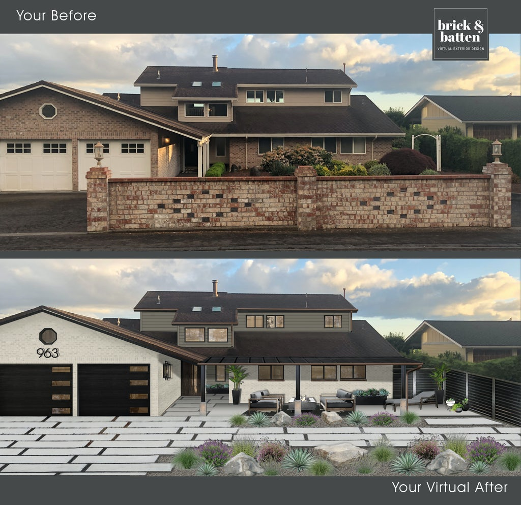 large modern two-toned home with sprawling, large, rectangular driveway pavers