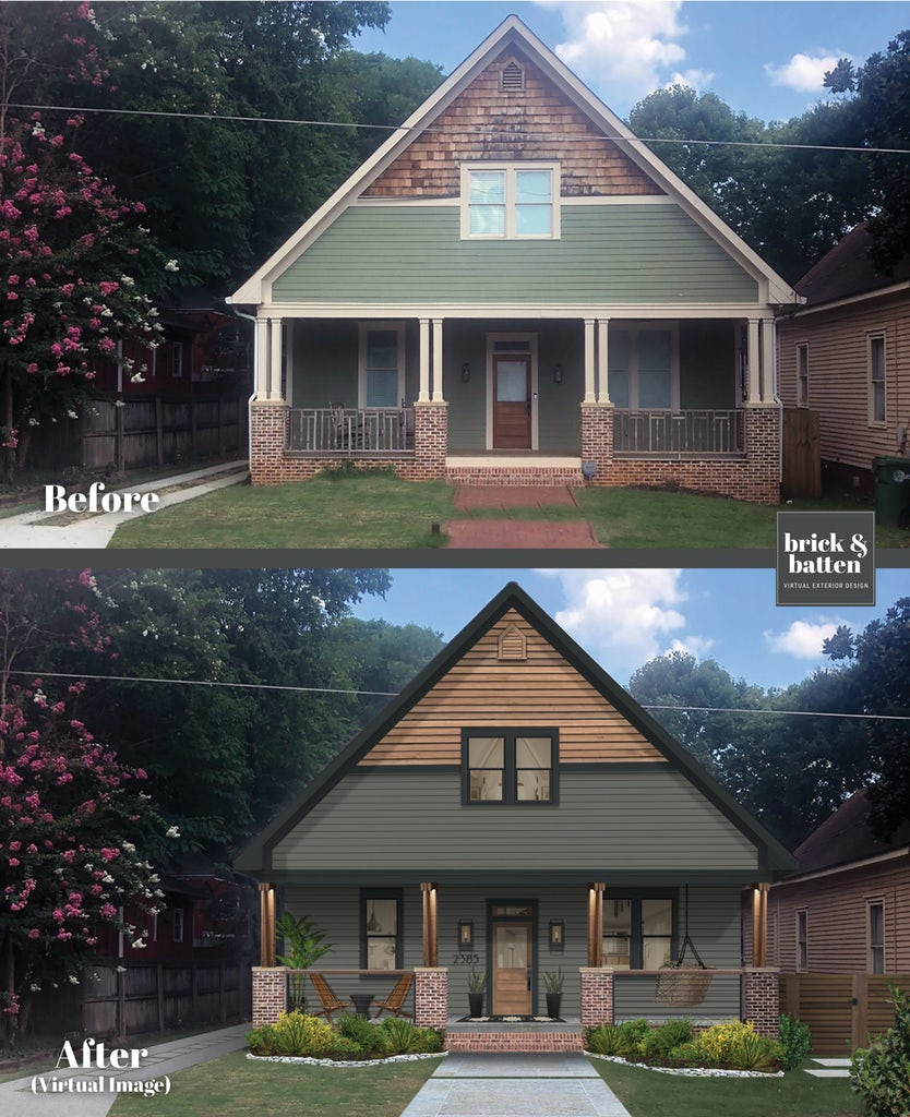 modern craftsman home with charcoal siding and wood siding