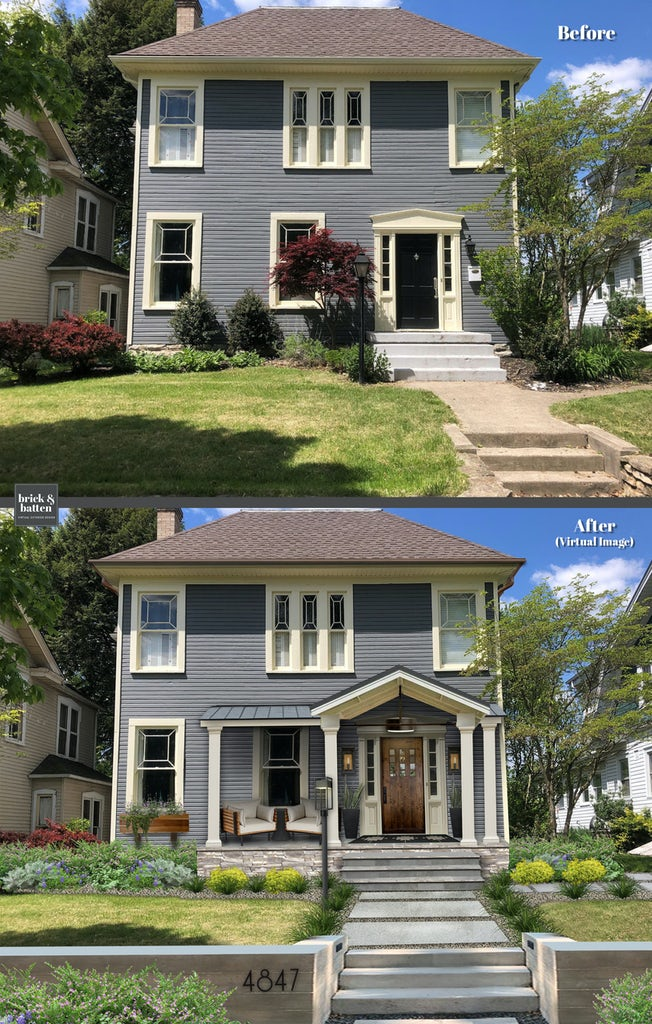 bluish gray colonial home with awning