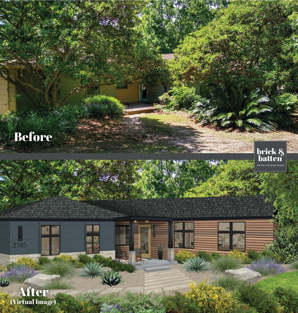 ranch style home with dark blue siding and wood panel siding