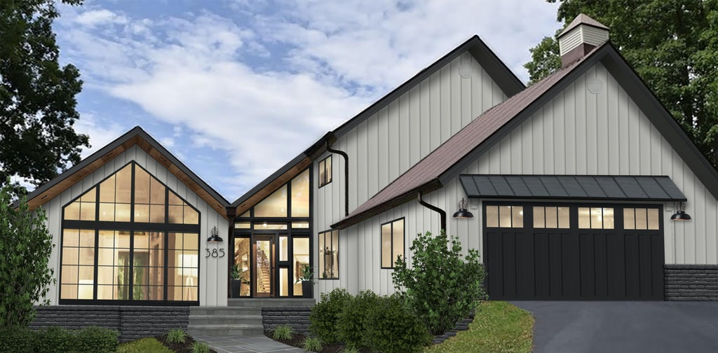 Virtual rendering of a contemporary home painted white with large windows