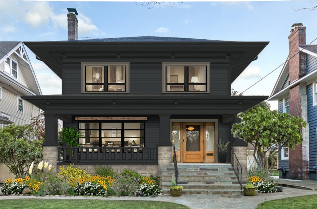 Virtual exterior design of a traditional home painted in Black Knight with Deep Creek accents