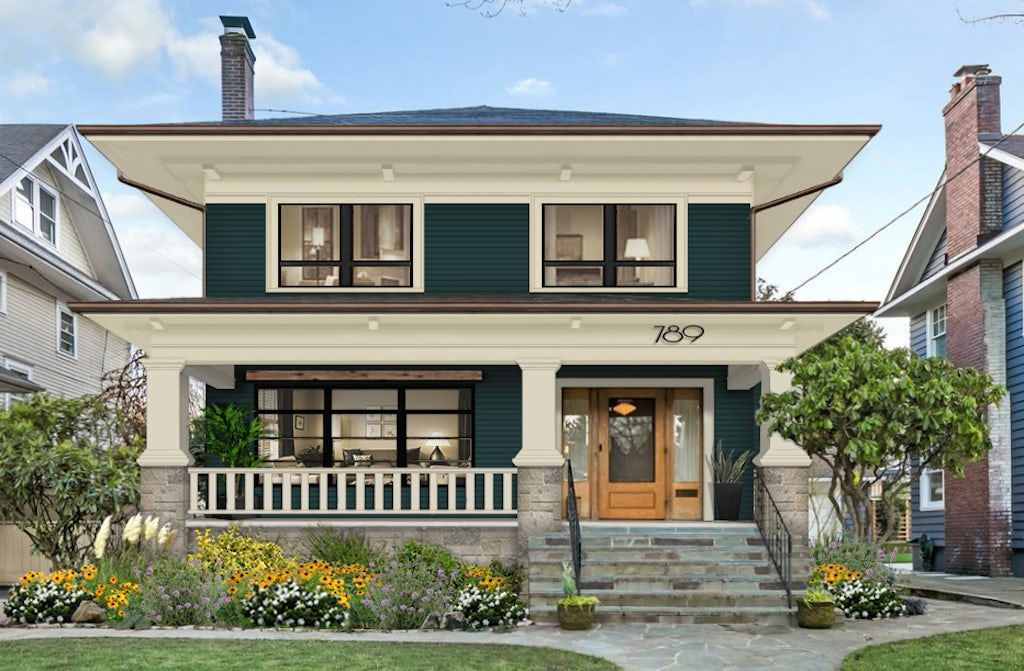 Virtual rendering of a Craftsman-style home with porch railings painted in an accent color