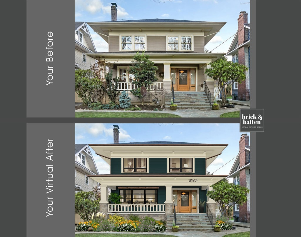 Before and after green home with white awnings and cultured stone surrounding front steps with house numbers on the front porch awning