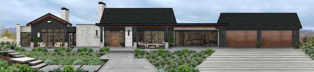 Virtual exterior design of a home with two fire pits
