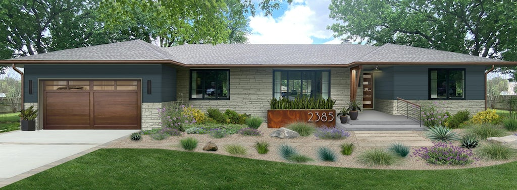 ranch home with shrubs and landscaping