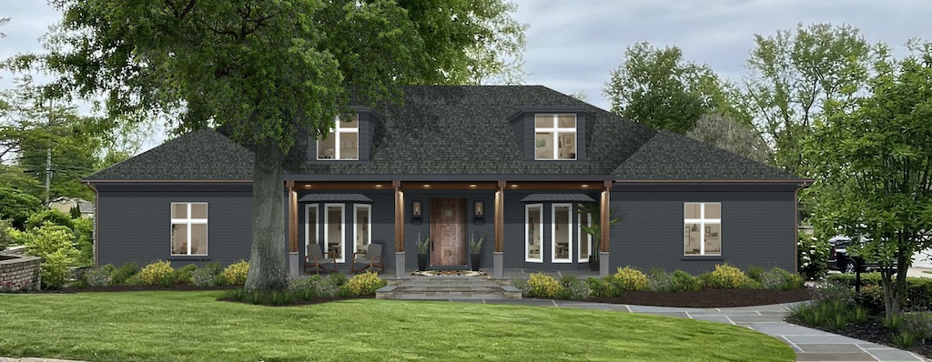 transitional symmetrical ranch home painted in raccoon fur dark gray color with white window