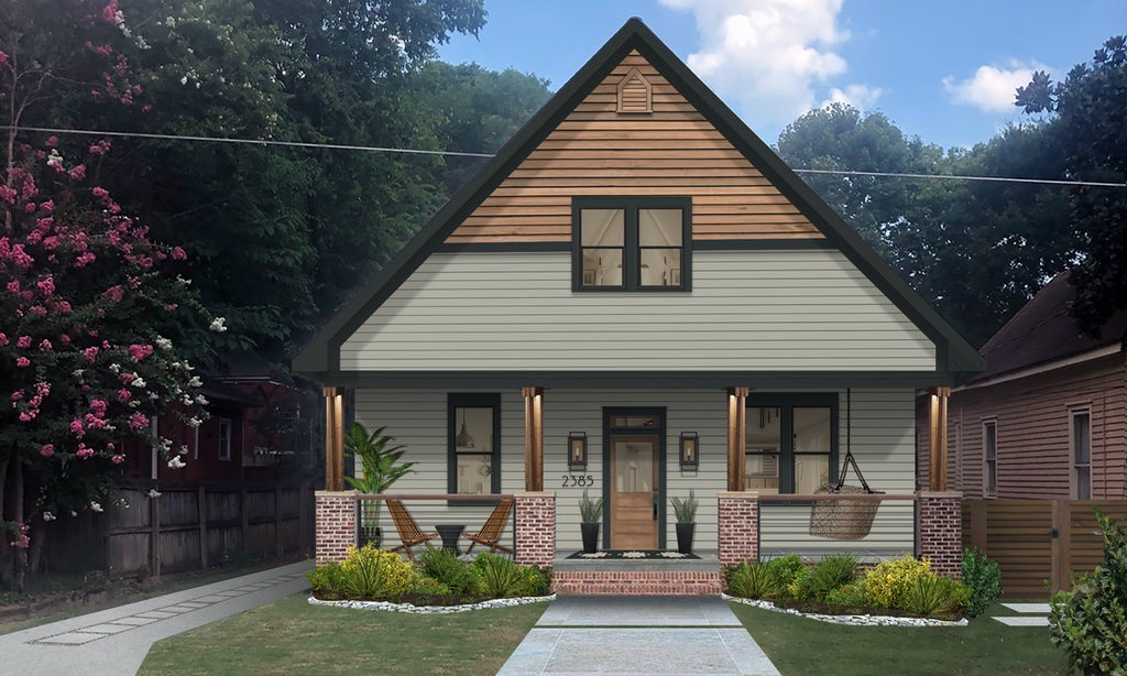 Virtual exterior design of a home with a large front porch and two seating areas