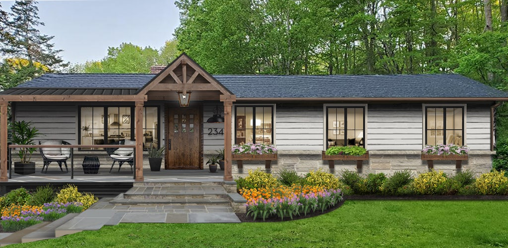 Virtual exterior design of rustic traditional home with wooden awning over front porch and house numbers alongside the front door