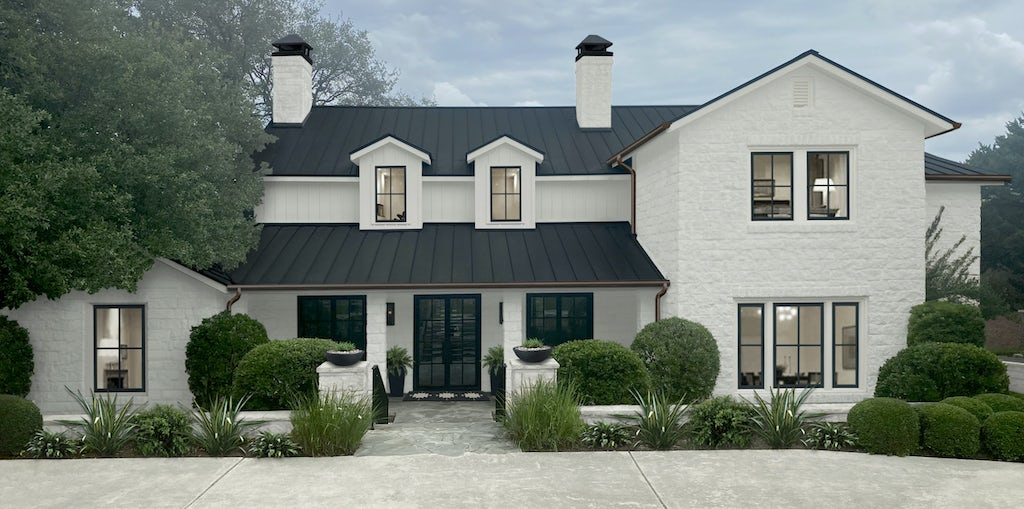 Virtual exterior renovation of a home done in Benjamin Moore Seapearl on the siding and stone slurry and Benjamin Moore Black on the windows and metal roof. The home has a large motor court instead of a front yard.
