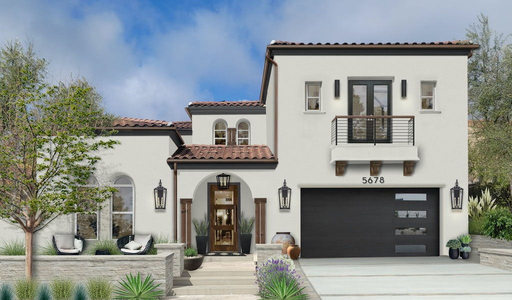 Virtual exterior renovation of a Spanish-style home done in Light Pewter by Benjamin Moore on the stucco and Onyx by Benjamin Moore on the trim and windows.