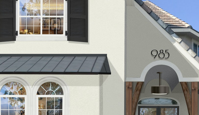 Virtual exterior design of a transitional home painted in Seapearl with Simply White accents