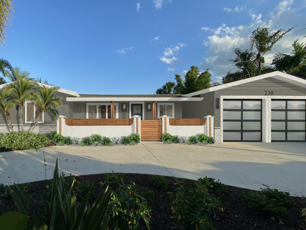 Virtual exterior rendering of a coastal modern home painted in Anonymous by Sherwin Williams with off-white, stone, and wood accents