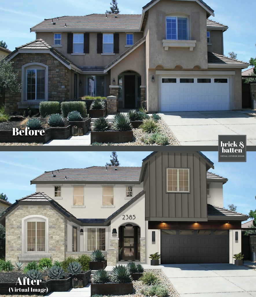 before and after of a white painted stucco spanish-style house with dark green accented second story above the garage