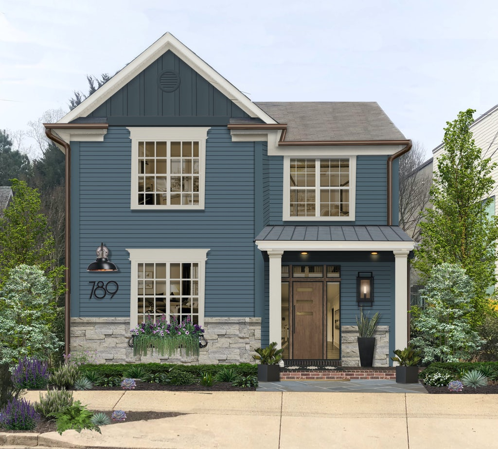 Virtual exterior design of a home with the main siding painted in Waterloo and vertical siding accent in Needlepoint Navy, both by Sherwin Williams
