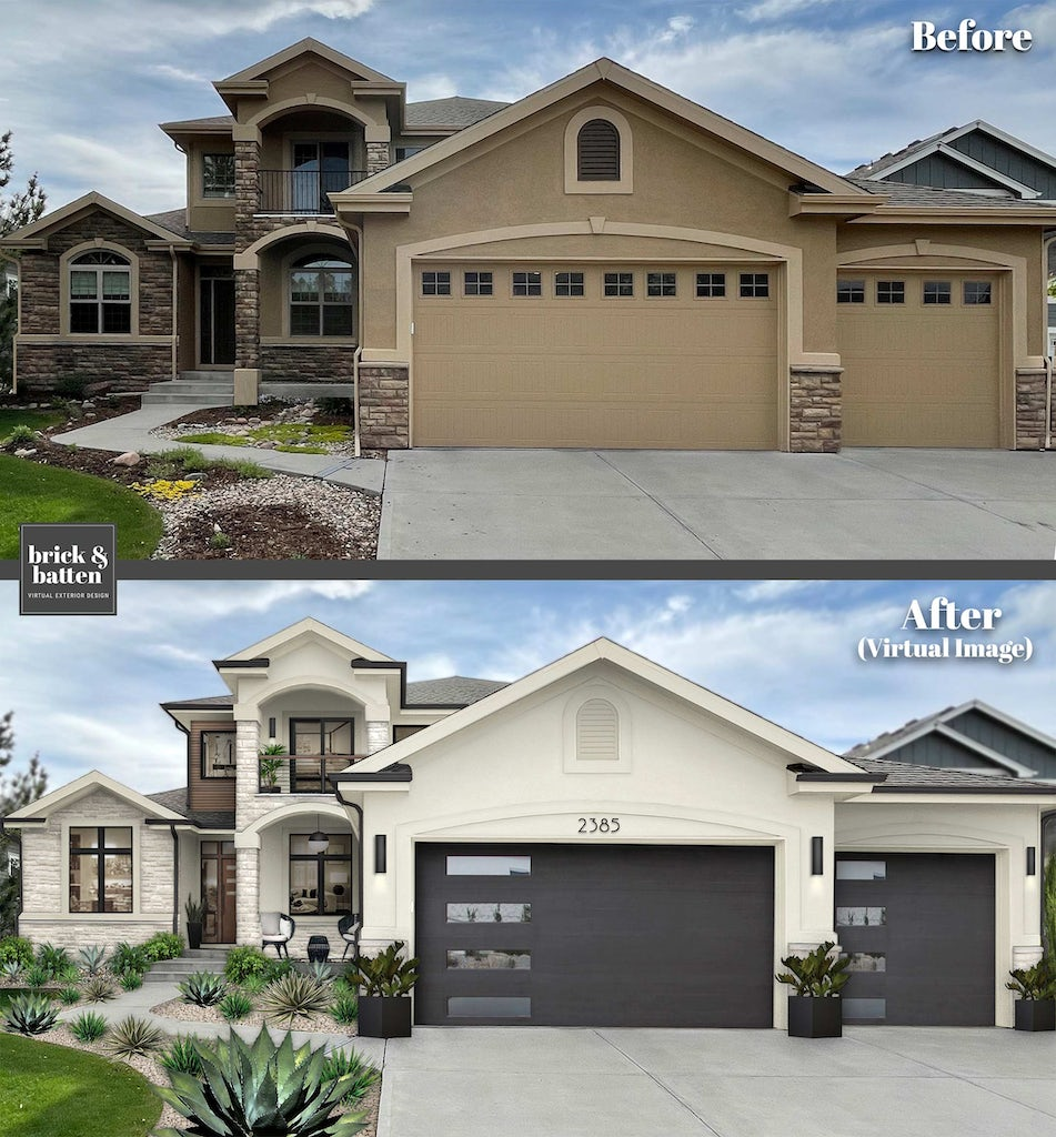 Before and after modern home with black and white updates and house number above the garage door