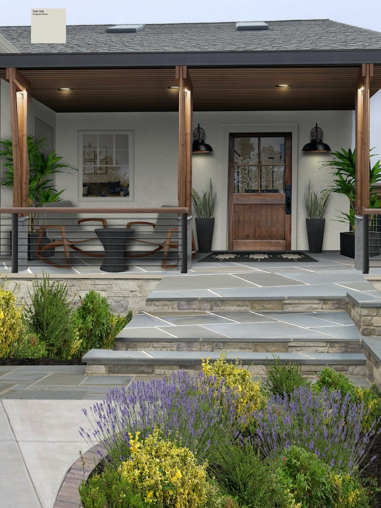 grayish white stucco home with wooden columns