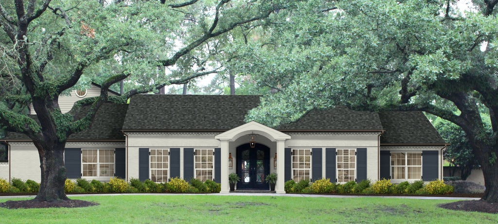 Virtual exterior design of a Colonial single story home painted in Revere Pewter with Hale Navy shutters