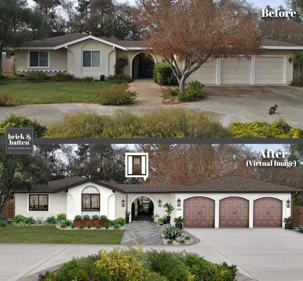 before and after of a spanish style ranch home with large arched entryway and woodgrain garage doors