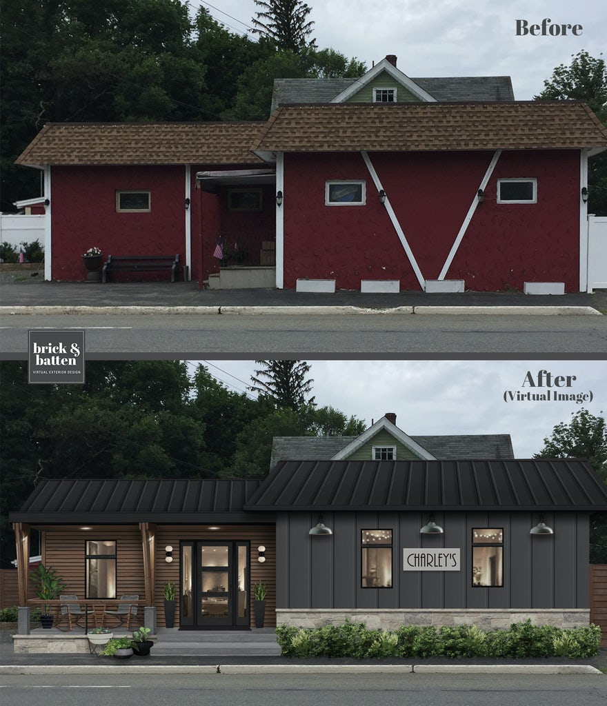 Before and after of a restaurant with a rustic modern exterior design