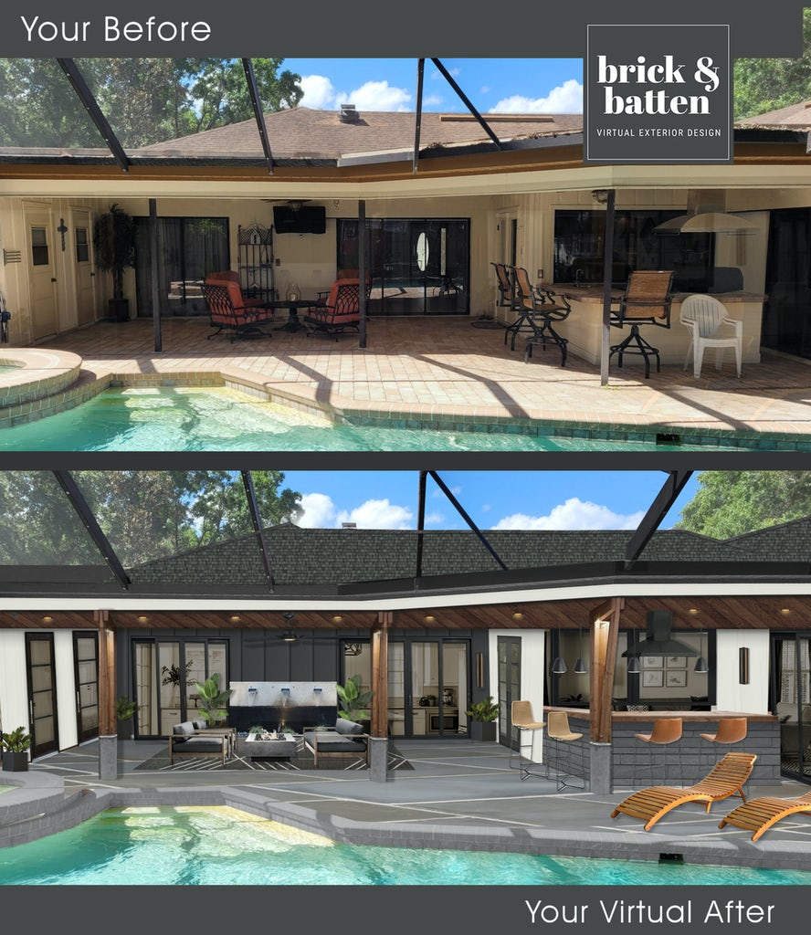 Before and after of a backyard with a pool and a whole new entertaining space