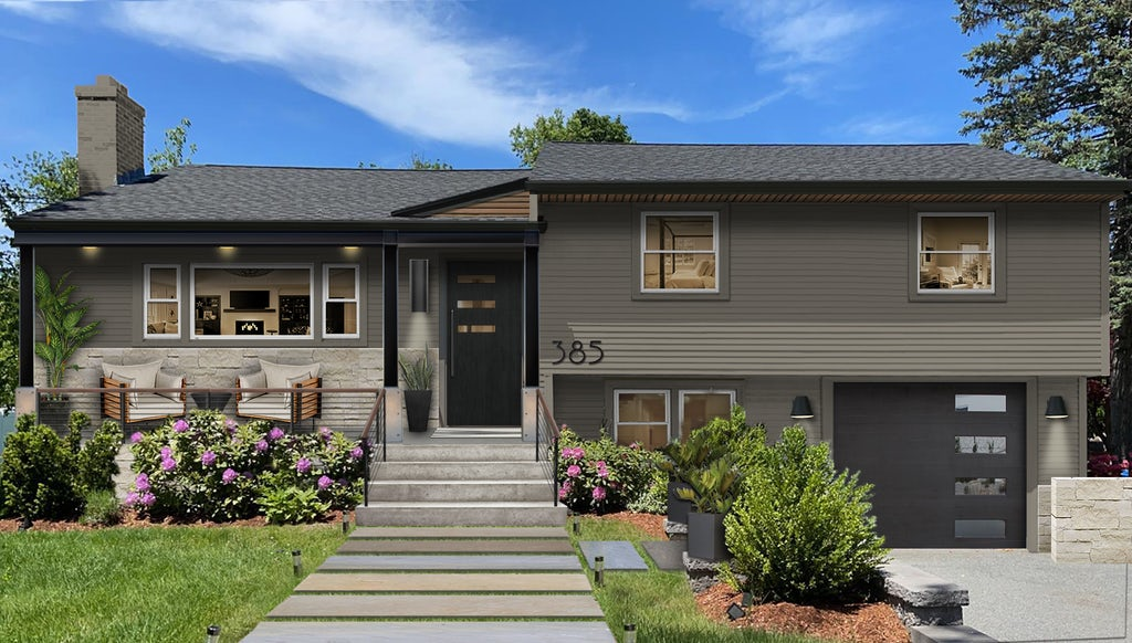 Virtual exterior design of a split-level home painted in Sherwin Williams' Anonymous paired with Black Satin accents and stone cladding