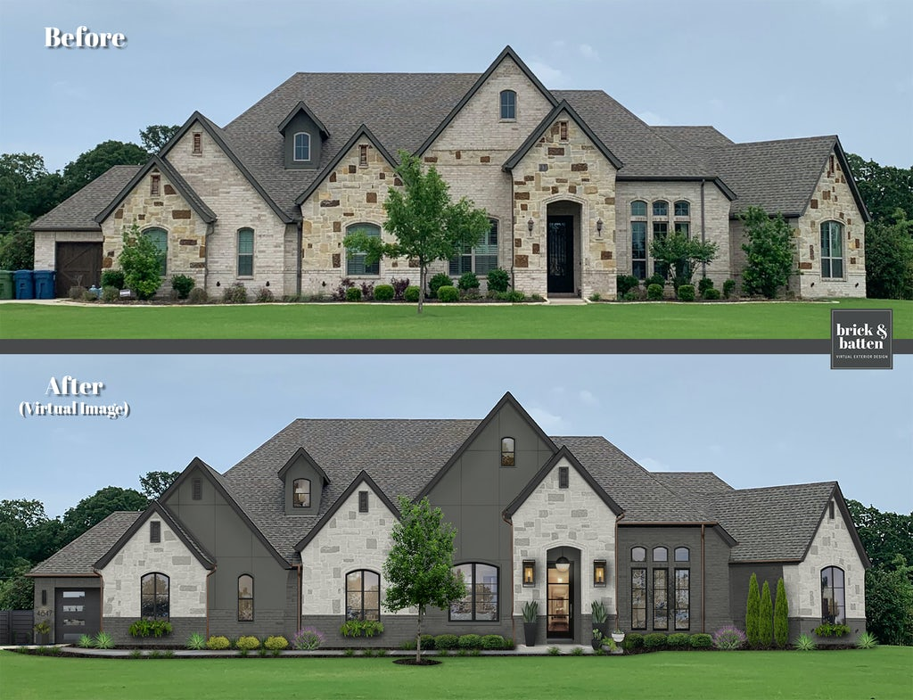 large stone mountain modern home with angular roofs and limewash stone