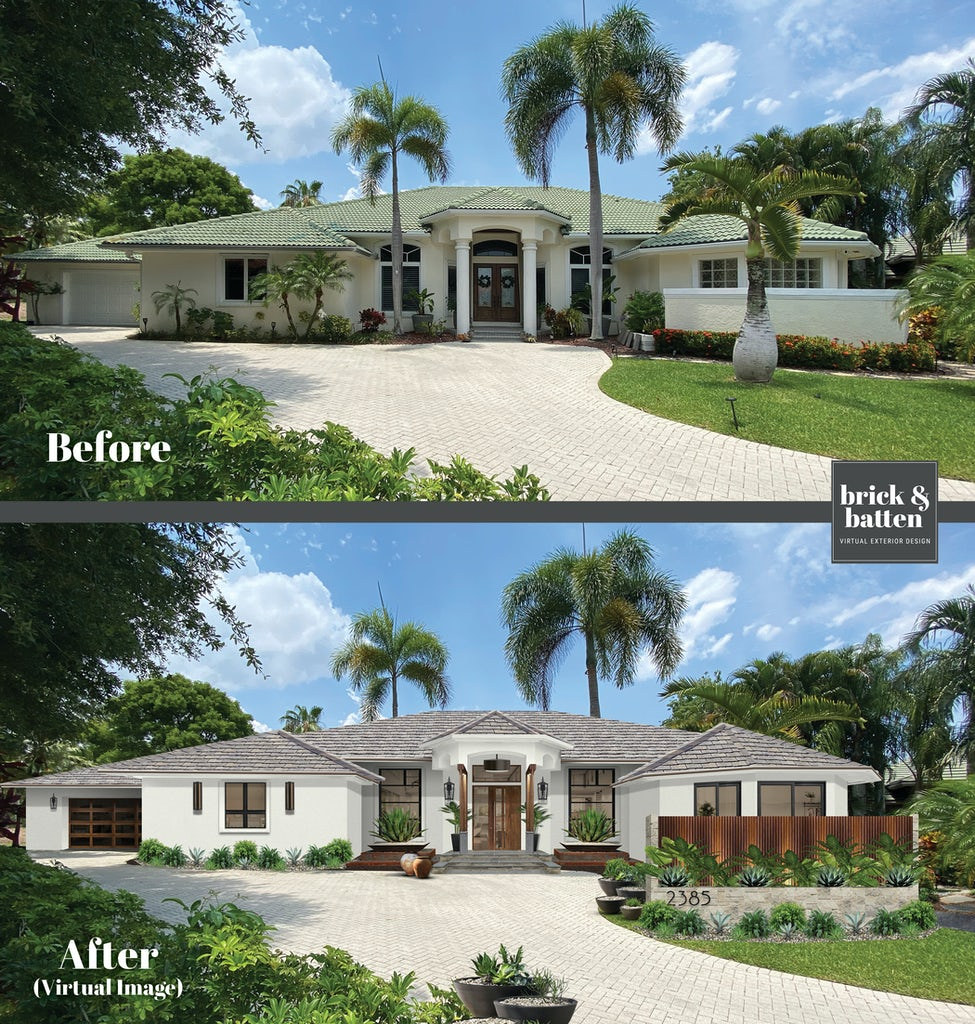 Virtual exterior renovation of a stucco home surrounded by palm trees and blue skies, with a large stone driveway that leads up to the house. The home 's exterior is repainted usingBenjamin Moore's Simply White, along with lush greenery and wooden accents.