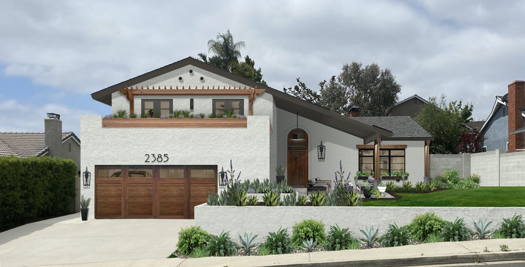 Virtual exterior design of a Spanish style home painted in Olympic Mountains