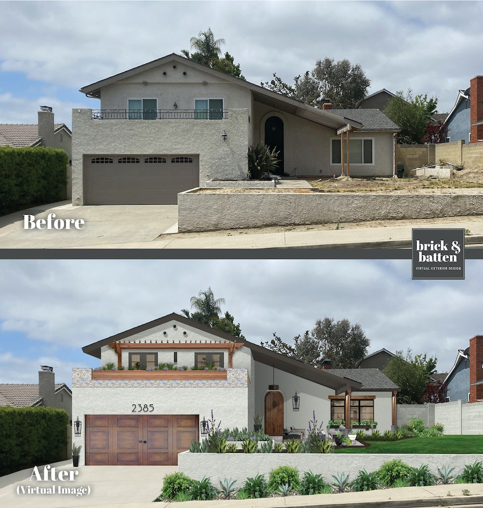 before and after of a spanish style home painted white with second story balcony and sloped roof