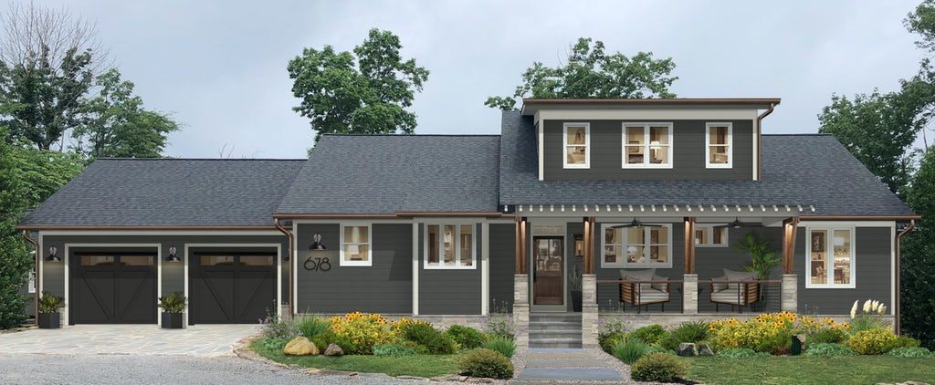 dark gray home with columns and light gray trim