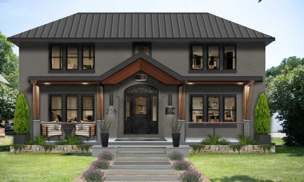two story traditional home with deep creek paint and onyx windows