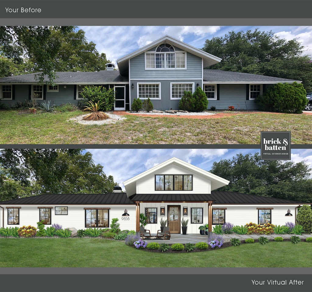 Before and after of a formerly blue house with a large front yard that has been done over in Benjamin Moore Simply White on the house and trim. The windows are lined with black pair, and the large has been refurbished to include fresh green grass and delicate plantings for curb appeal.