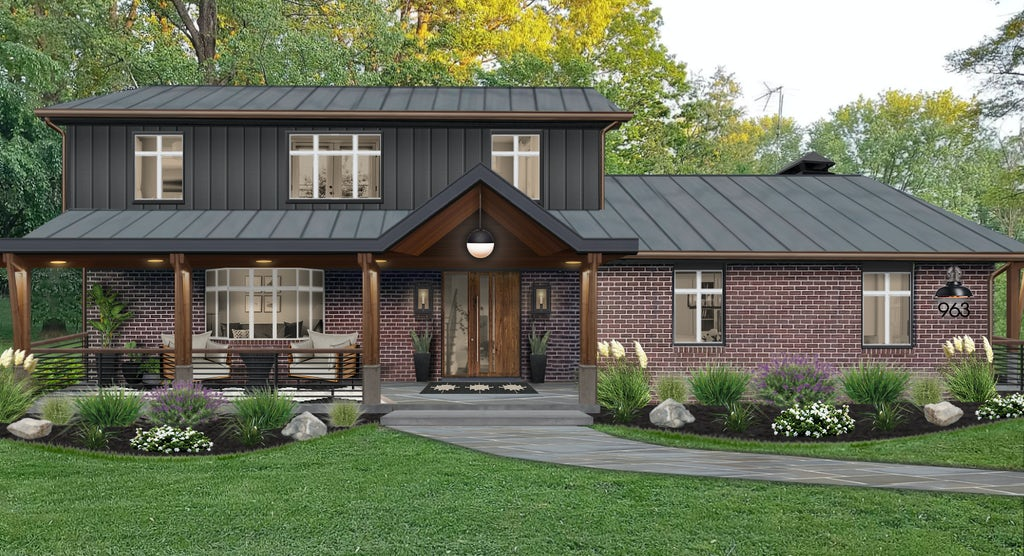 Virtual exterior design of a home with natural brick and graphite siding
