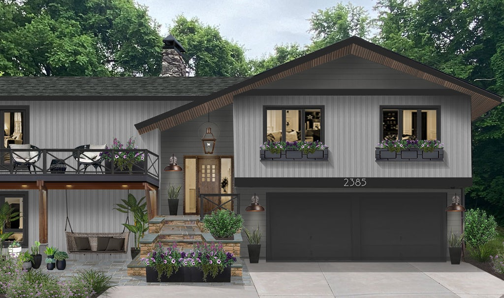 Virtual rendering of a home painting light gray with dark gray accents and an x porch railing