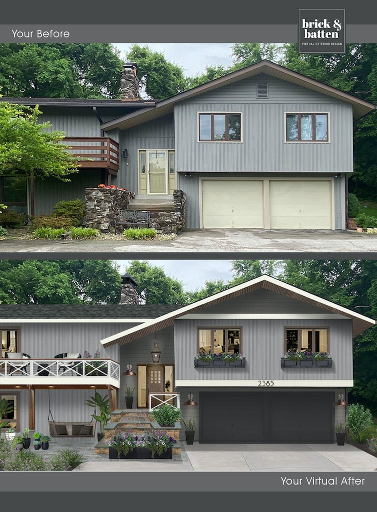 Before and after of a home with new porch railings
