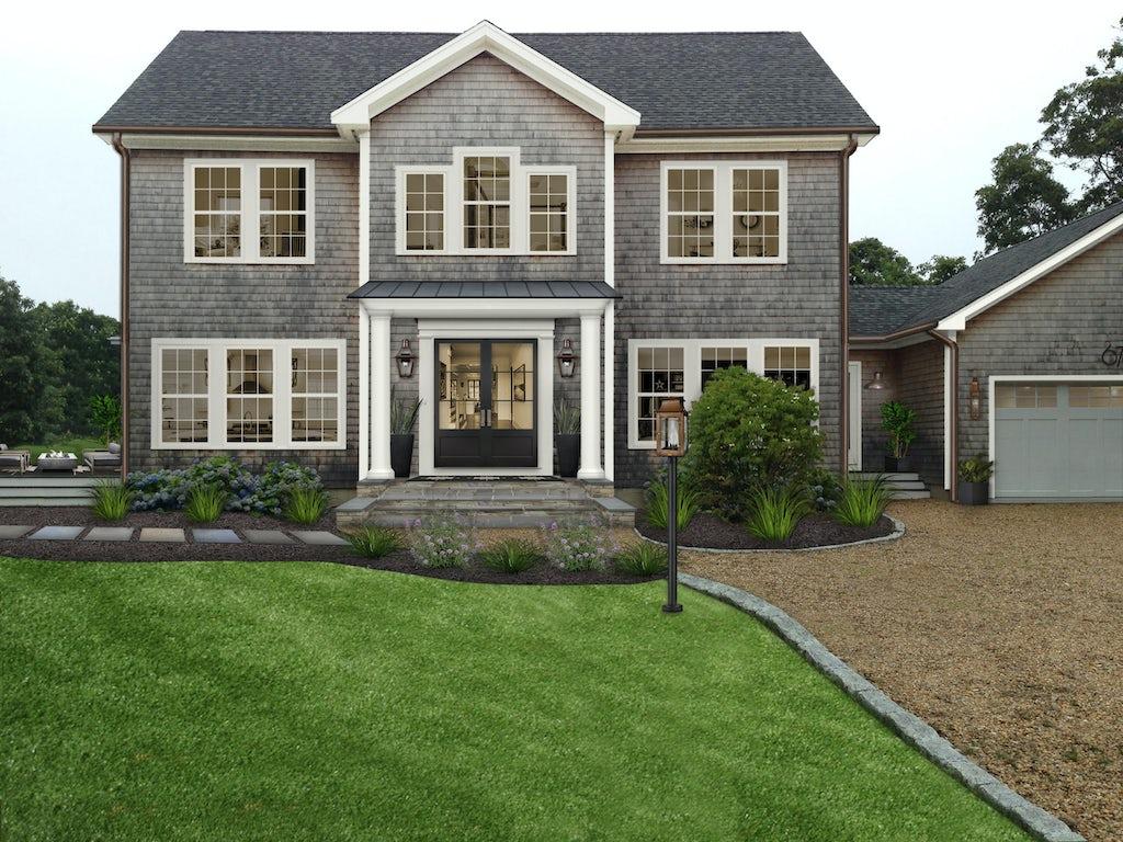 Virtual exterior design of a home with White Dove trim