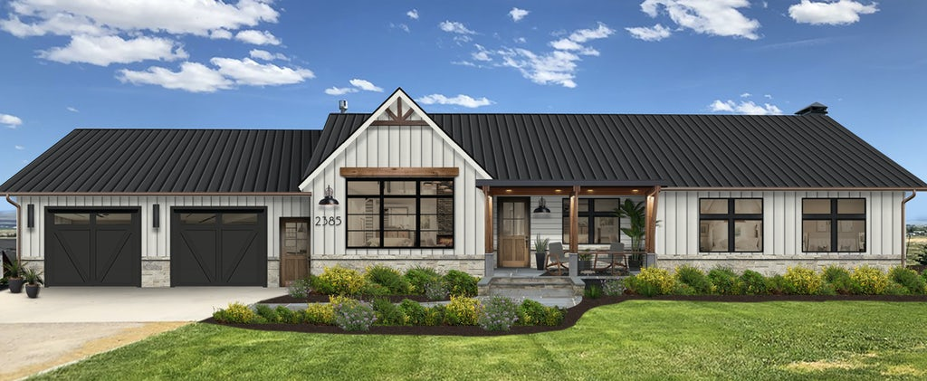 Virtual rendering of a home with white siding and black trim