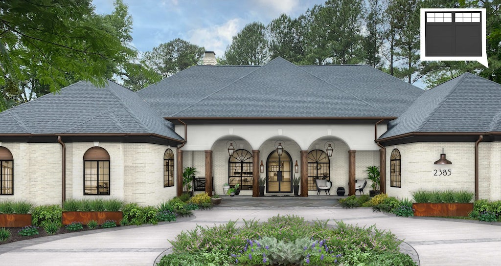 Virtual exterior design rendering of a home painted in White Dove with Iron Mountain accents