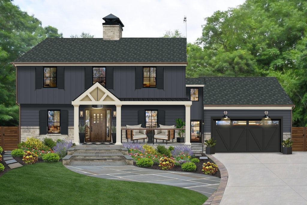 black modern farmhouse with cultured stone foundation