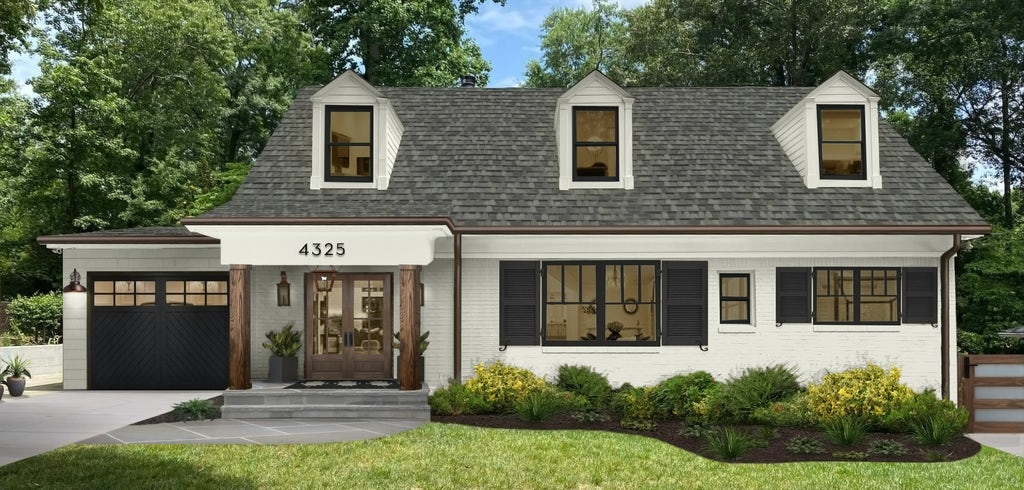 Exterior virtual renovation of a home that uses Seapearl by Benjamin Moore on the main house, with black on the shutters and garage door..